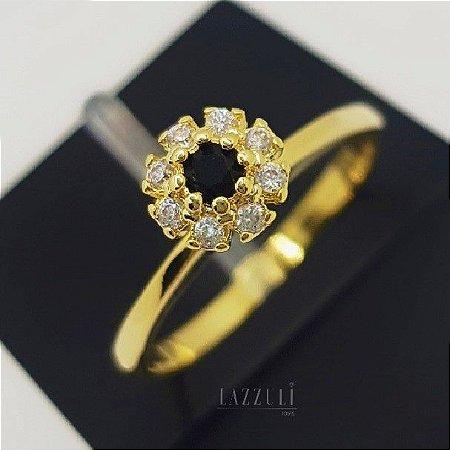 Anel Solitário Flor com Micro Zircônia Negra e Cristal Banhando em Ouro18k