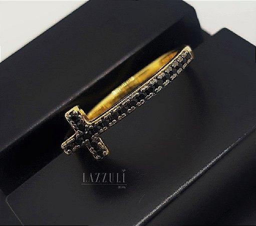 Anel Cruz Micro Zircônia Negra Banhado em Ouro18k