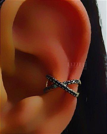 Piercing Fake em X com Micro Zircônias Negras Banhado em Ouro18k