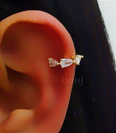 Piercing Fake 3 Gotas Zircônia Cristal Banhado em Ouro18k
