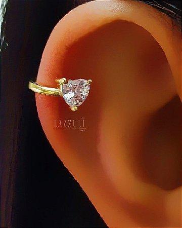Piercing Fake Coração Zircônia Cristal Banhando em Ouro18k
