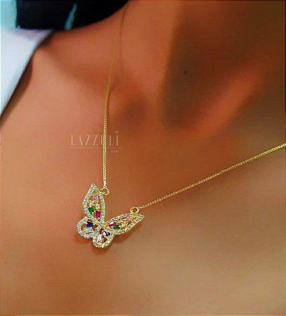 Colar Borboleta Luxury Zircônias Coloridas Banhado em Ouro18k(SKU:00052110)