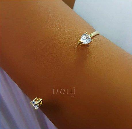 Bracelete 2 Gotas Zircônia Cristal Banhado em Ouro18k