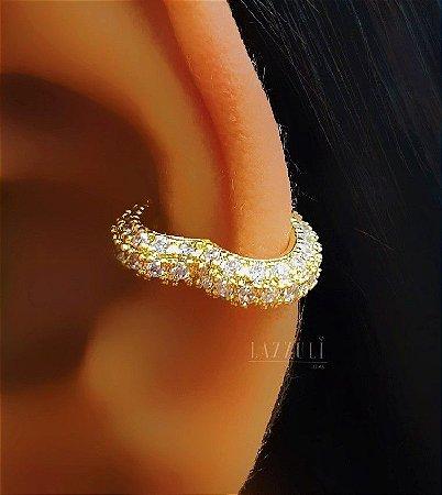 Piercing Fake todo Micro Zircônia em Formato de Coração Banhado em Ouro18k
