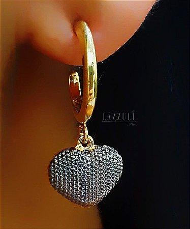 Brinco Argola com Pingente Coração Pontilhado com Detalhes em Ródio Negro banhado em Ouro18k