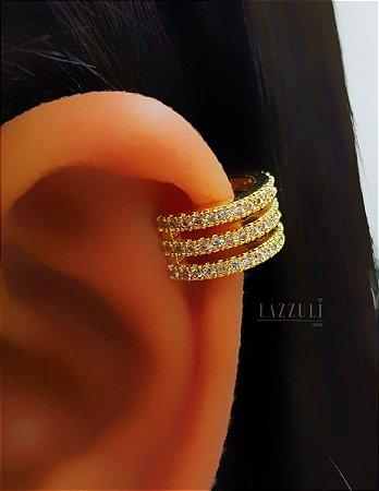 Piercing Fake 3 Fileiras Micro Zircônia Cristal Banhado em Ouro18k (SKU: 00071032)