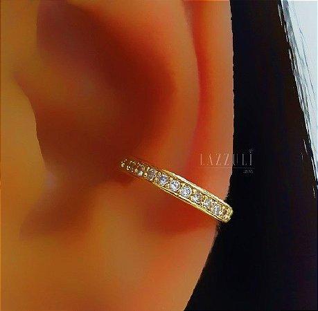 Piercing Fake 1 Fileira de Micro Zircônia Banhado em Ouro18k (SKU: 00071028)