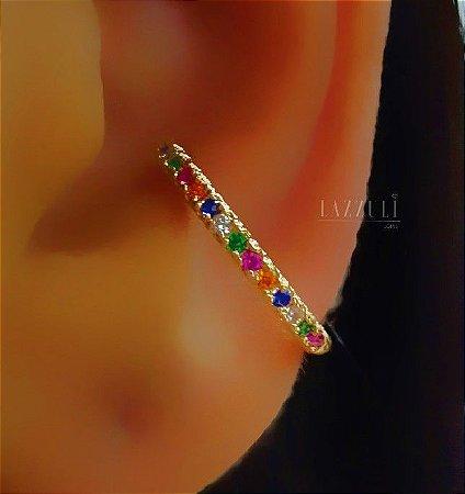 Piercing Fake com Micro Zircônias Coloridas Banhado em Ouro18k (SKU: 00071035)