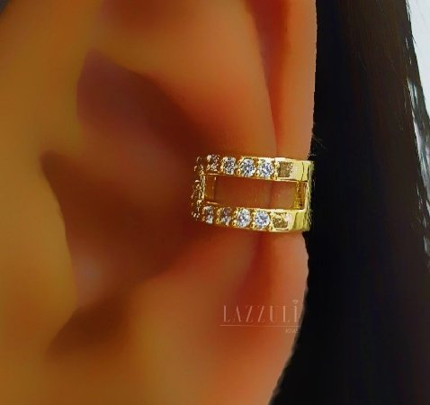 Piercing Fake 2 Fileiras Micro Zircônias Banhado em Ouro18k (SKU: 00071036)