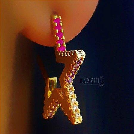 Brinco Estrela com Micro Zircônia Colorida M Banhado em Ouro18k