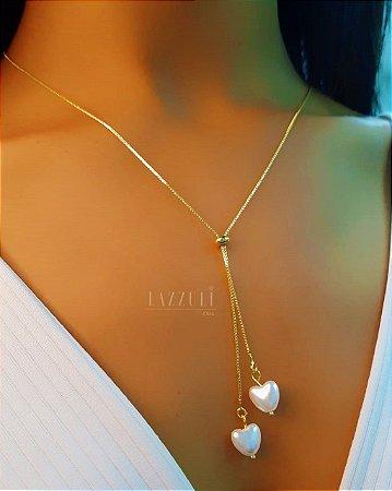 Colar Gravatinha Corações em Pérola Banhado em Ouro18k
