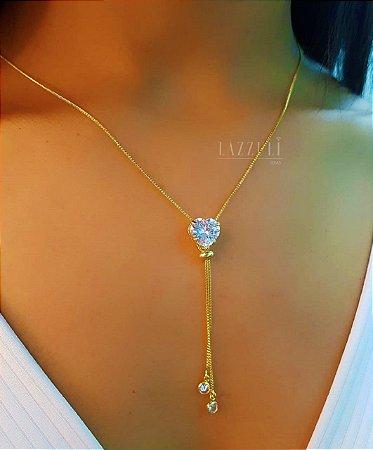Colar Gravatinha Coração Zircônia Cristal Banhado em Ouro18k
