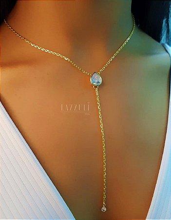 Colar Gravatinha Gota com Zircônia Cristal Banhado em Ouro18k
