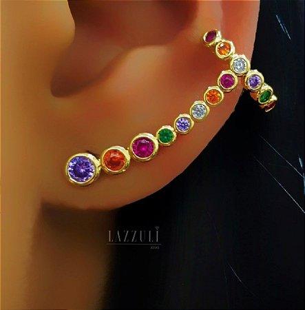 Brinco Ear Cuff Zircônia Colorida Banhado em Ouro18k (SKU: 00032061)