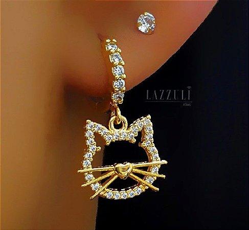 Brinco Argola Gatinho com Micro Zircônia Cristal Banhado em Ouro18k (SKU: 00032057)