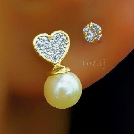 Brinco Mini Pérola com Coração Micro Zircônia Cristal Banhado em Ouro18k