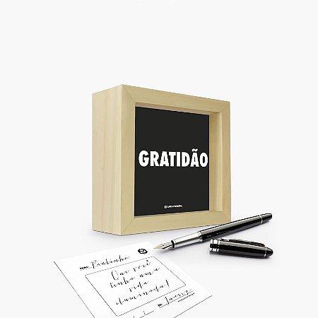 """Quadro Cartão """"Gratidão"""" 12 x 12 x 4cm"""