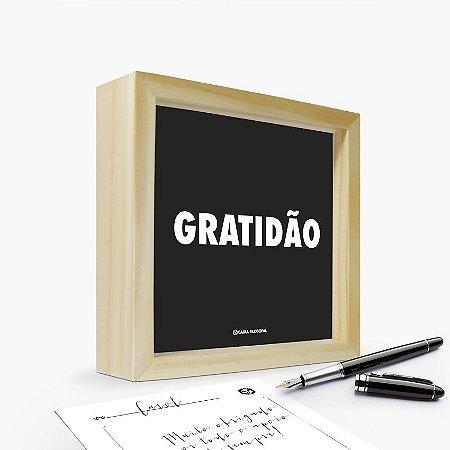 """Quadro Cartão """"Gratidão"""" 17 x 17 x 4cm"""