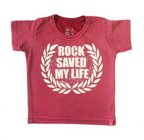 Camiseta Rock saved my life - vinho