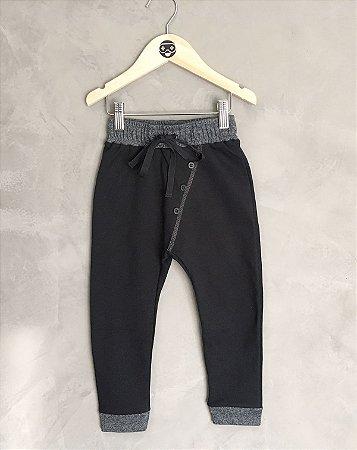 Calça duo color - preta
