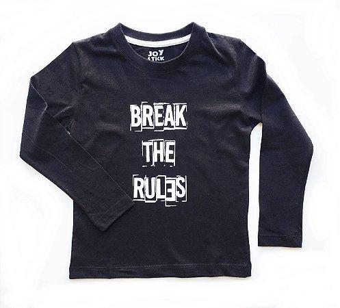 Camiseta manga longa Break the rules - preta