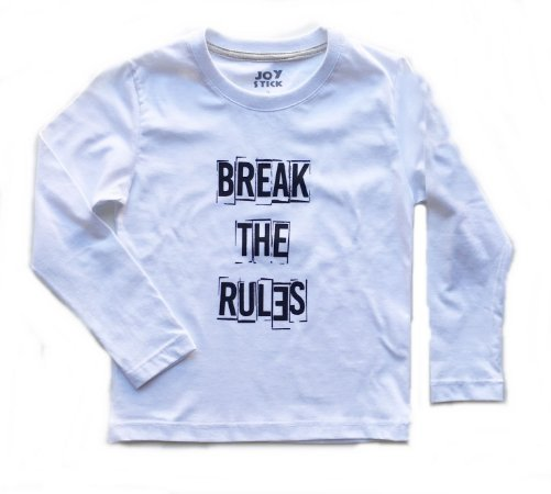 Camiseta manga longa Break the rules - branca
