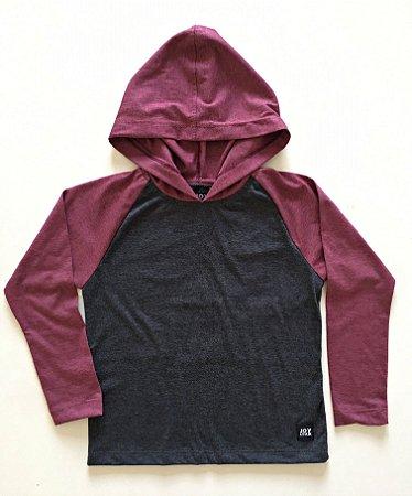 Camiseta Capuz - cinza com marsala
