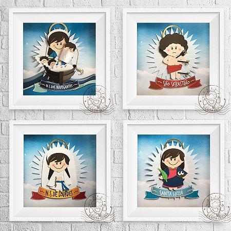 KIT 7 - Nossa Senhora dos Navegantes,  São Sebastião,  Santa Luzia e Nossa Senhora de Lourdes