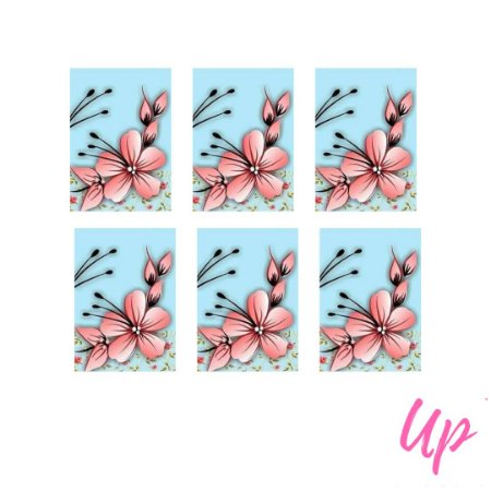 Pelicula de unhas floral azul com rosa
