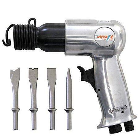 Martelete Profissional Pneumático 150mm c/ 4 Ponteiras Waft