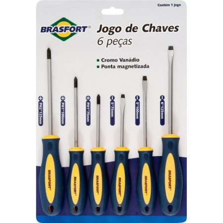 Chaves de Fenda/Philips Jogo c/ 6 Peças Ponta Magnét. Brasfort 7029