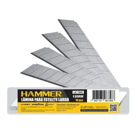 Lamina de Estilete Largo 18mm 10 peças HAMMER 50cx