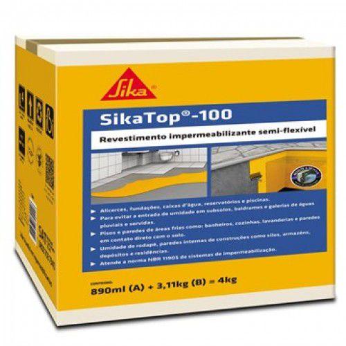 Impermeabilizante SikaTop 100 Cinza Caixa 4KG