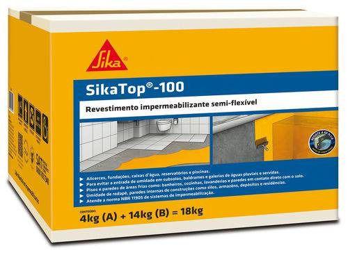 Impermeabilizante SikaTop 100 Cinza Caixa 18KG