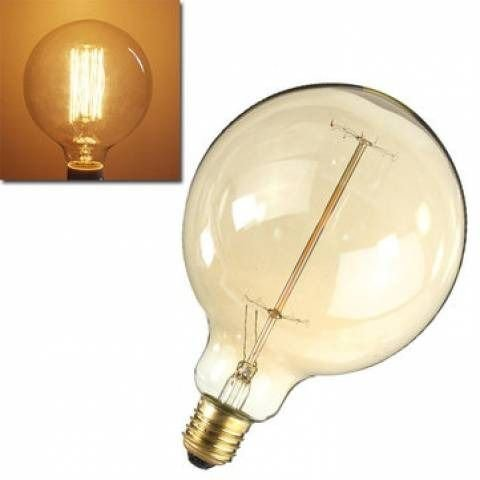 Lampada Filamento Carbono 40w 2400k Retro Vintage G125 127v