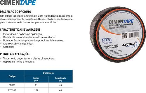 Fita P/ Drywal Fibra De Vidro Cimentape 51m X 46mm