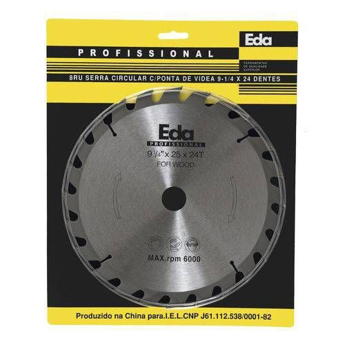 Disco Serra Circular Widea 9.1/4 x 24 Dentes Furo 25mm Eda