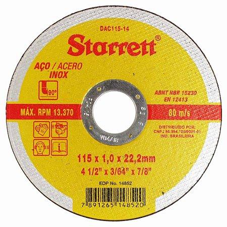 """Disco Corte Inox STARRETT 4.1/2"""" X 3/64"""" X 7/8pol"""