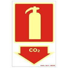 """Placa Sinalizacao """"EXTINTOR CO2"""" Fluorescente PVC 20x30"""