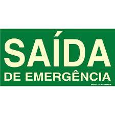 "Placa Sinalizacao ""Saida de Emergencia"" Fluorescente PVC 15x30"