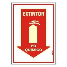 "Placa Sinalizacao ""EXTINTOR PO QUIMICO"" Fluorescente PVC 20x30"