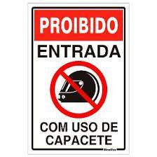 """Placa Sinalizacao """"PROIB.USO CAPACETE """" Fluorescente PVC 20x30"""