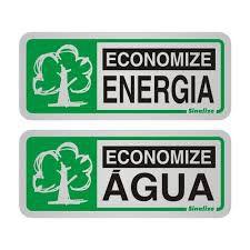 "Placa Sinalizacao Aluminio ""ECON.ENERGIA/AGUA"" 2Pecas 5x12"