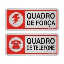 """Placa Sinalizacao Aluminio """"QUADRO FORCA\FONE"""" 2Pecas 5x12"""