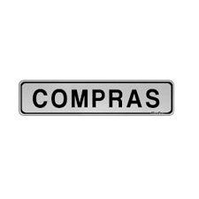 """Placa Sinalizacao Aluminio """"COMPRAS"""" 5x25"""