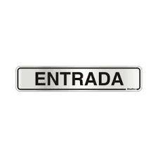 """Placa Sinalizacao Aluminio """"ENTRADA""""  5x25"""