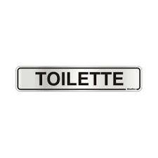 """Placa Sinalizacao Aluminio """"TOILETTE""""  5x25"""