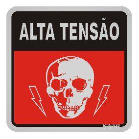 """Placa Sinalização """"ALTA TENSÃO"""" Alumínio 12X12cm"""