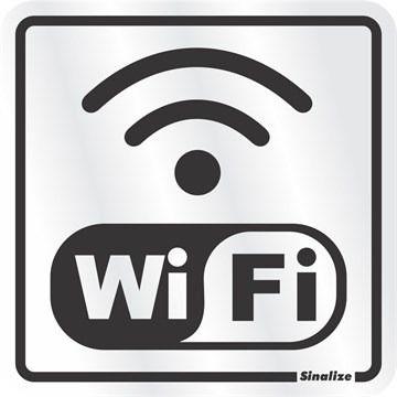 "Placa Sinalização ""INTERNET WIFI"" Alumínio 15X15cm"