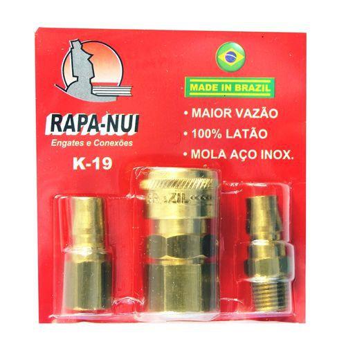 """Kit Ar Comprimido 1/4"""" Alta Vazão Jogo 3 pçs - RAPANUI K19"""